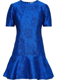 Alice + Olivia Woman Esther Fluted Jacquard Mini Dress Bright Blue