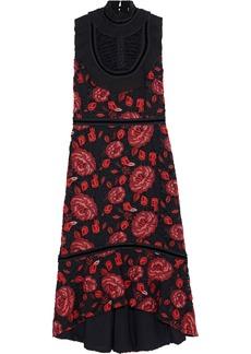 Alice + Olivia Woman Evelina Pleated Chiffon-trimmed Guipure Lace Midi Dress Black