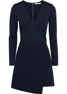Alice + Olivia Woman Evette Wrap-effect Ponte And Crepe Mini Dress Navy