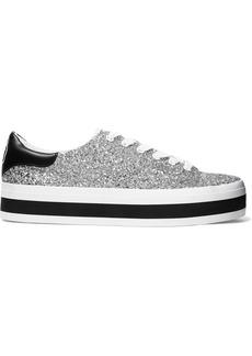 Alice + Olivia Woman Ezra Glittered Canvas Platform Sneakers Silver