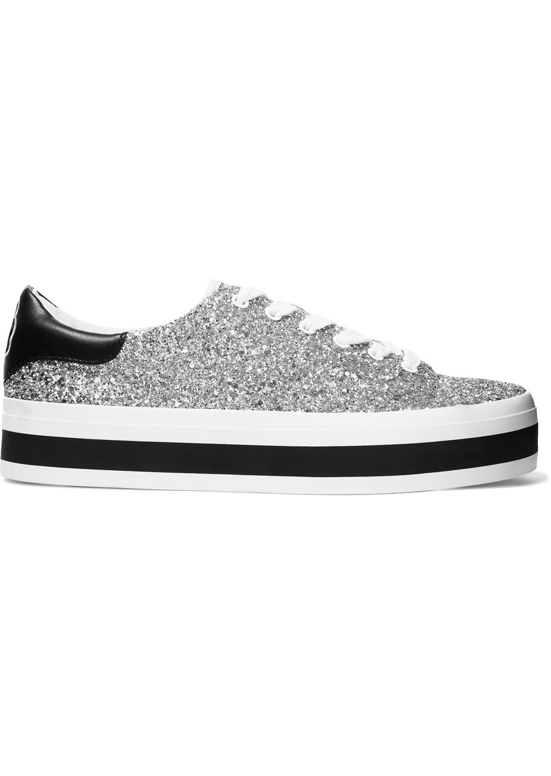 Alice + Olivia Woman Ezra Glittered Canvas Platform Sneakers Silver