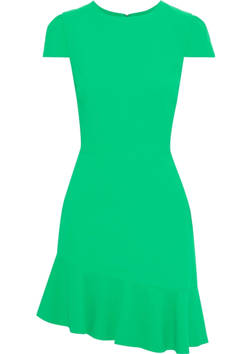 Alice + Olivia Woman Fable Asymmetric Ruffled Crepe Mini Dress Green