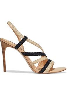 Alice + Olivia Woman Fanniey Two-tone Braided Raffia Slingback Sandals Sand