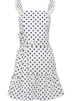 Alice + Olivia Woman Farah Ruffled Polka-dot Cotton-poplin Mini Dress White
