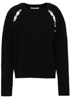 Alice + Olivia Woman Faux Pearl-embellished Cutout Knitted Sweater Black
