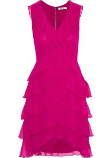Alice + Olivia Woman Felicita Tiered Silk-chiffon Mini Dress Fuchsia
