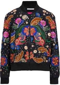 Alice + Olivia Woman Felisa Appliquéd Silk-crepe Bomber Jacket Black