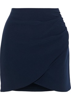 Alice + Olivia Woman Fidela Ruched Crepe Mini Skirt Navy