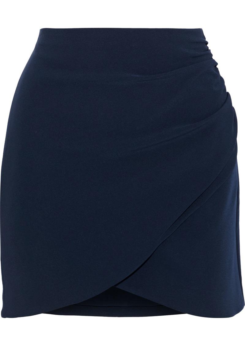 Alice + Olivia Woman Fidela Ruched Crepe Mini Skirt Navy