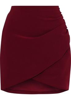 Alice + Olivia Woman Fidela Wrap-effect Ruched Crepe Mini Skirt Crimson