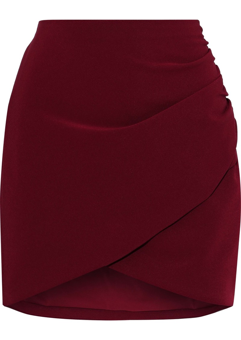 Alice + Olivia Woman Fidela Wrap-effect Ruched Crepe Mini Skirt Crimson
