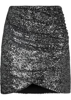 Alice + Olivia Woman Fidela Wrap-effect Sequined Tulle Mini Skirt Gunmetal