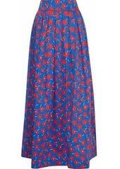 Alice + Olivia Woman Fina Pleated Floral-print Cotton-blend Poplin Maxi Skirt Blue