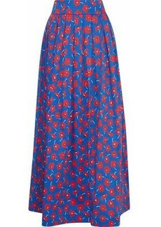 Alice + Olivia Woman Fina Pleated Floral-print Cotton-blend Poplin Maxi Skirt Blue
