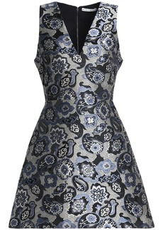 Alice + Olivia Woman Flared Brocade Mini Dress Blue