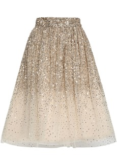 Alice + Olivia Woman Flared Embellished Dégradé Tulle Skirt Gold