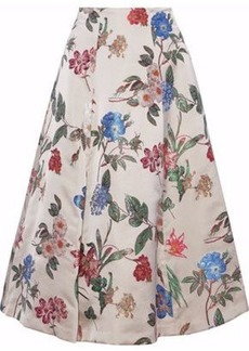 Alice + Olivia Woman Flared Floral-jacquard Midi Skirt Beige