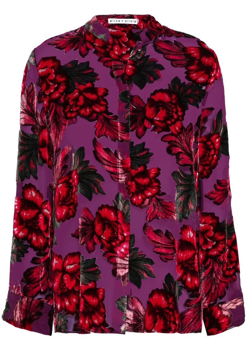 Alice + Olivia Woman Floral-print Devoré-velvet Shirt Purple