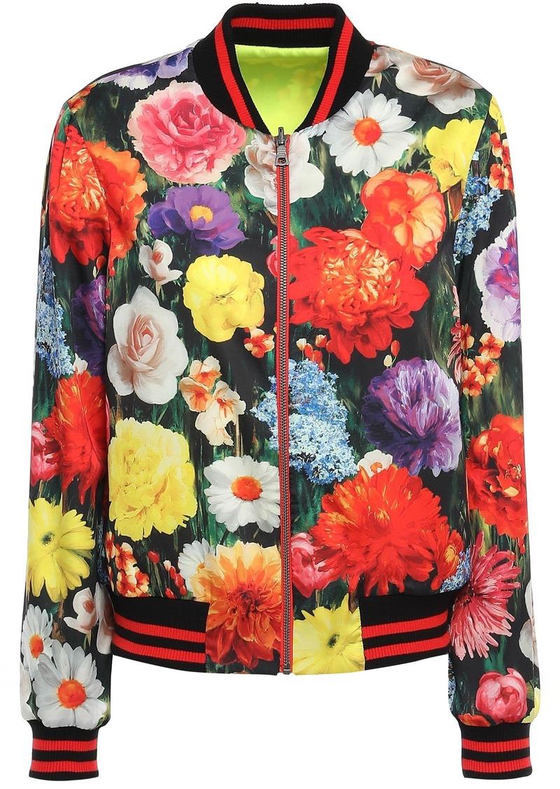 Alice + Olivia Woman Floral-print Satin Bomber Jacket Multicolor