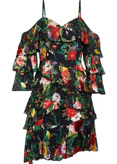 Alice + Olivia Woman Florentina Cold-shoulder Tiered Floral-print Fil Coupé Chiffon Mini Dress Multicolor