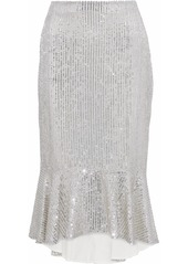 Alice + Olivia Woman Fluted Embellished Gauze Midi Skirt Silver