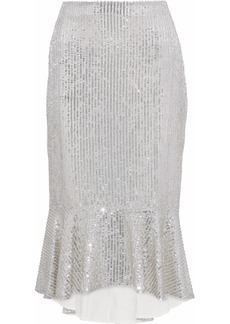 Alice + Olivia Woman Fluted Embellished Gauze Midi Skirt Silver