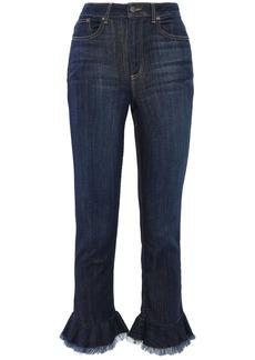 Alice + Olivia Woman Frayed Ruffled High-rise Slim-leg Jeans Dark Denim