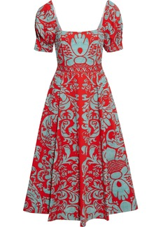 Alice + Olivia Woman Fredia Flared Printed Cotton-blend Midi Dress Tomato Red