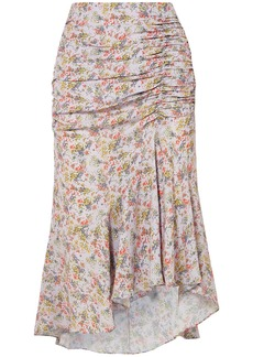 Alice + Olivia Woman Freida Asymmetric Ruched Floral-print Crepe Midi Skirt Lilac