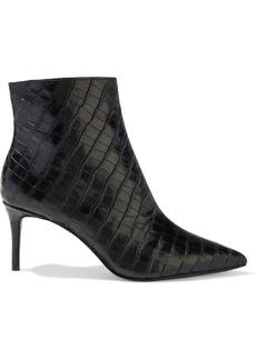 Alice + Olivia Woman Frema Croc-effect Leather Ankle Boots Black