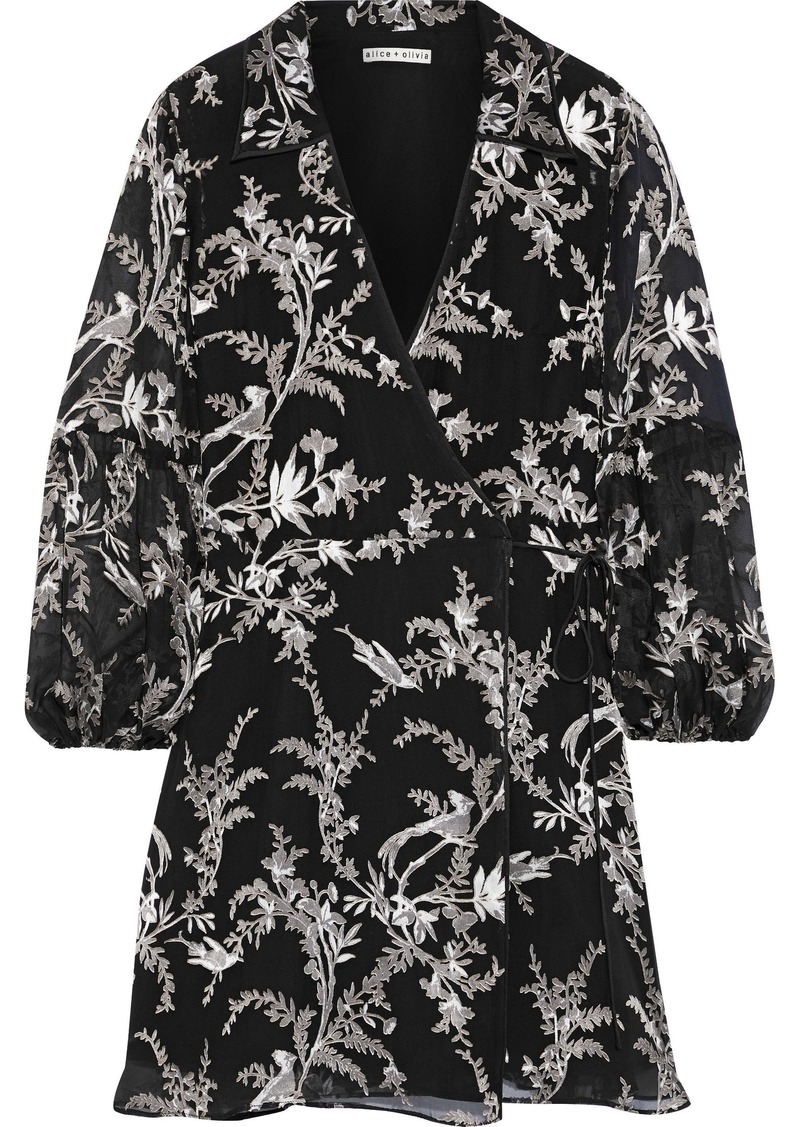 Alice + Olivia Woman Gaston Fil Coupé Silk-blend Chiffon Mini Wrap Dress Black