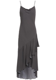 Alice + Olivia Woman Ginger Asymmetric Ruffled Polka-dot Crepe Dress Black