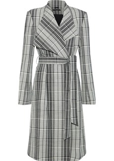 Alice + Olivia Woman Ginny Belted Checked Woven Coat Black