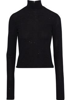 Alice + Olivia Woman Glittered Stretch-knit Turtleneck Top Black