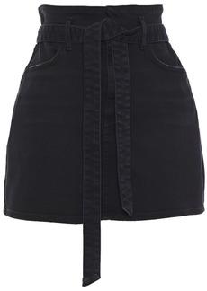 Alice + Olivia Woman Good Belted Distressed Denim Mini Skirt Black