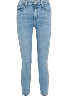 Alice + Olivia Woman Good Cropped Bead-embellished High-rise Skinny Jeans Light Denim