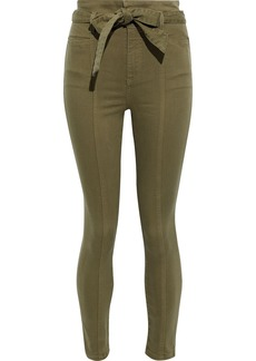 Alice + Olivia Woman Good Cropped Belted Stretch-twill Skinny Pants Army Green