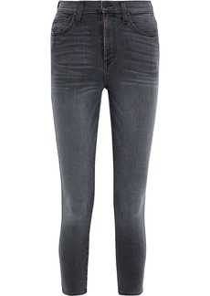 Alice + Olivia Woman Good Cropped Faded High-rise Skinny Jeans Dark Denim