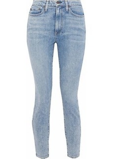 Alice + Olivia Woman Good Cropped High-rise Skinny Jeans Light Denim