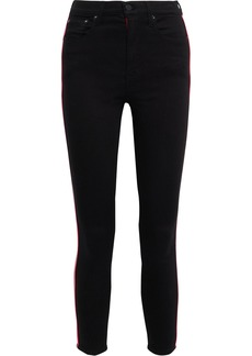 Alice + Olivia Woman Good Cropped Neon-trimmed High-rise Skinny Jeans Black