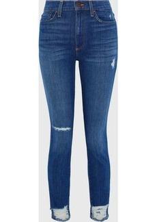 Alice + Olivia Woman Good Distressed High-rise Skinny Jeans Mid Denim