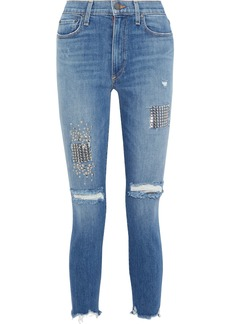 Alice + Olivia Woman Good Distressed Studded High-rise Skinny-leg Jeans Mid Denim