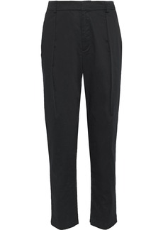 Alice + Olivia Woman Grady Pleated Cotton-blend Tapered Pants Black
