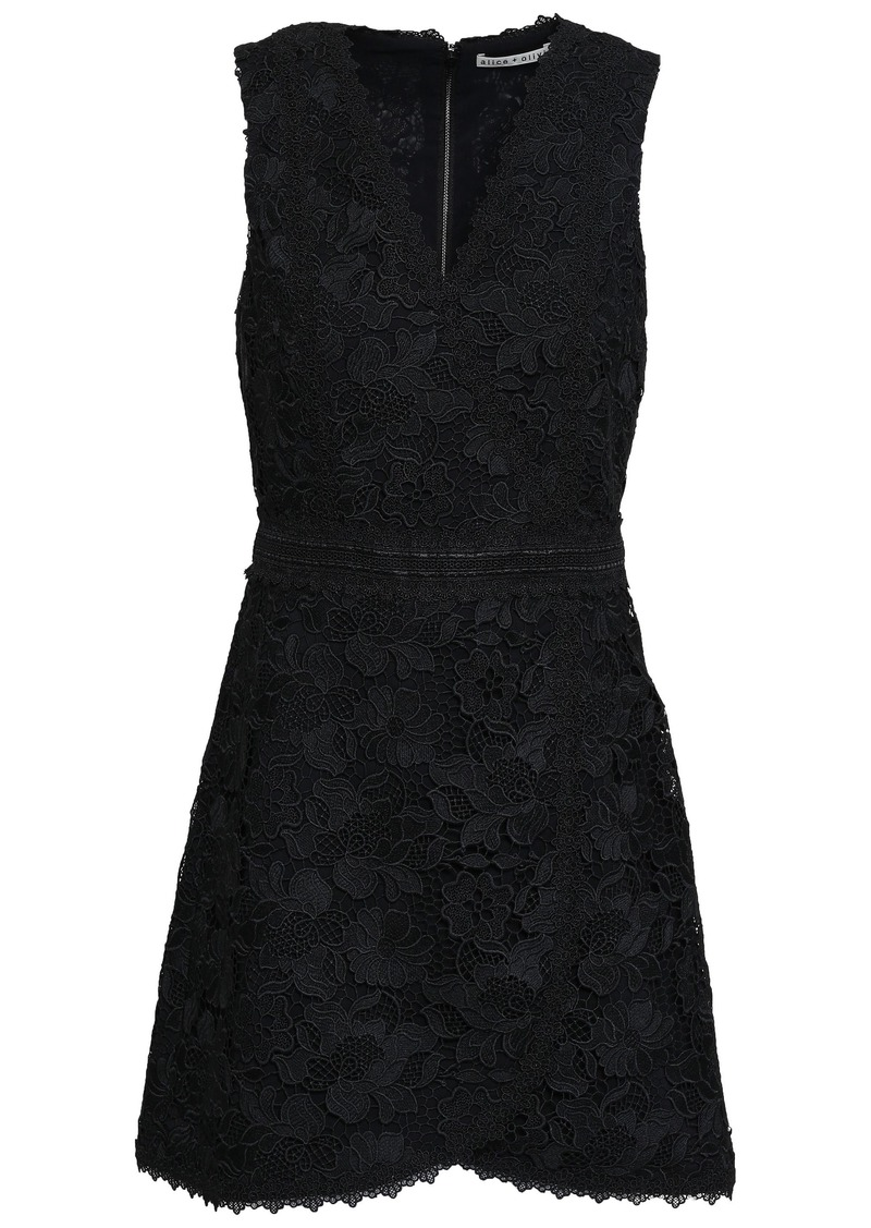 Alice + Olivia Woman Guipure Lace Mini Dress Black