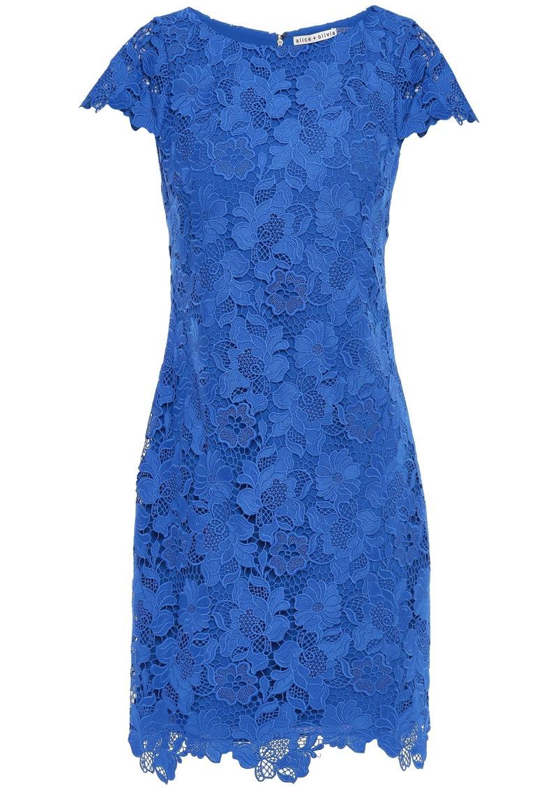 Alice + Olivia Woman Guipure Lace Mini Dress Cobalt Blue
