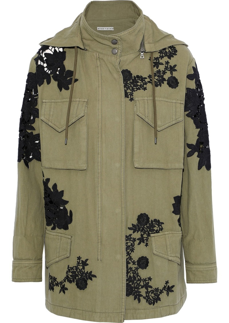 Alice + Olivia Woman Guipure Lace-trimmed Cotton-twill Parka Leaf Green
