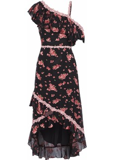 Alice + Olivia Woman Guipure Lace-trimmed Floral-print Silk-blend Chiffon Dress Black
