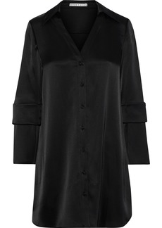 Alice + Olivia Woman Halima Button-detailed Satin Mini Shirt Dress Black