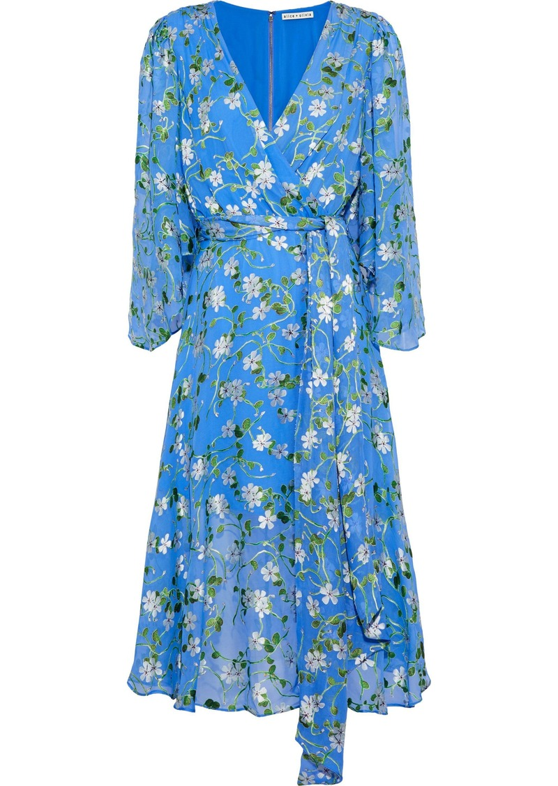 Alice + Olivia Woman Halsey Belted Floral-print Devoré-chiffon Dress Blue