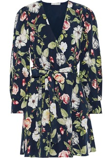 Alice + Olivia Woman Hannah Floral-print Sateen Mini Wrap Dress Navy